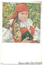 POSTCARD 1929 Sourek Czech painting Moravian folk costume bible Vlcnov kroj art