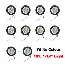 """10X 12V Round Side WHITE Clear 6 LED 1-1/4"""" Marker Light Boat Car Bus Navigation"""