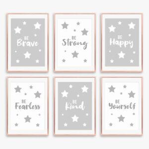 Monochrome Quote Grey Nursery Prints Decor Childrens Boys Girls Bedroom Pictures