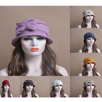 Women 100 % Wool Bow Ladies Cap Bowler Dress Church Derby Hat T177
