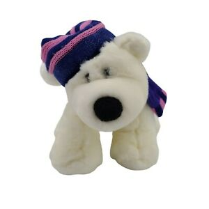 """Toys R Us Animal Alley White POLAR BEAR 11"""" Plush with Hat and Scarf"""