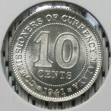 *SUPERB Grade* 1941 - Malaya - 10 Cents George VI Silver #CIT