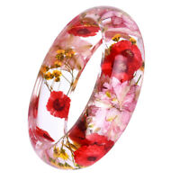 Vintage Transparent Lucite Cuff Bracelet Bangle with Floral Daisy Dry Flower