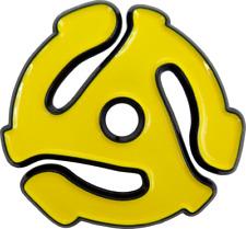 "4036 Yellow 45rpm 7"" Record Adapter Insert Vinyl Music 1.25"" Enamel Pin Button"