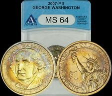 2007-P George Washington Dollar ANACS MS64 Turquoise/Golden/Bronze Toned Coin