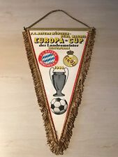 alt  Wimpel FC Bayern München 1988 Europapokal Real Madrid 40x27 cm Fußball