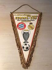 alt Wimpel FC Bayern München1988 Europapokal Real Madrid 40x27 cm Fußball