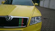 10 Stck. NEON Performance Streifen Folie Aufkleber Sticker Skoda RS Kühler Grill