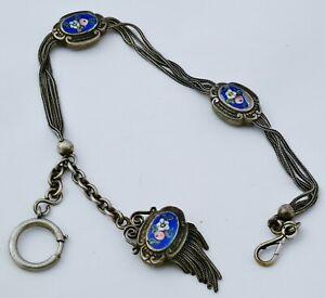 Châtelaine, chaîne de montre à gousset en argent massif ( silver) et émail peint