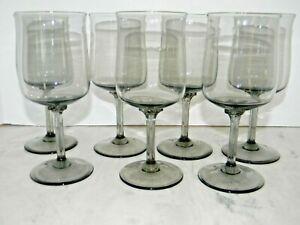 "Vintage Smokey Gray Wine glass Set of 7, 6.5"" tall,"