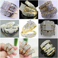 3Pcs/Set 18K Yellow Gold Filled White Sapphire Ring Women Men's Wedding Jewelry