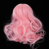 1/4 BJD Girl Doll Long Curly Wigs Pink Hair For Dollfie Hairstyle Hairpiece