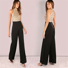 Womens Wet Look Shiny Polyester Jumpsuits Rompers Ebay