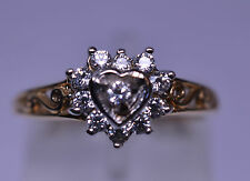 10K YELLOW GOLD CZ HEART RING W/ FILIGREE SIDES SIZE 6 SWEETHEART OR YOUNG GIRL