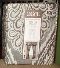 "Croscill AMADEO Smoke, 84"" Jacquard Pole Top Drapes NIP, 1st Quality"