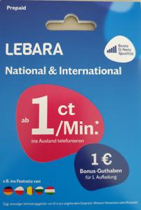 Prepaid Sim Karte Lebara inkl. 7,50€  D1 Telekom Neu AKTIV Registriert