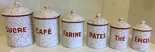 Vintage Set of 6 Red & White Chickenwire French Enamelware Nesting Canisters