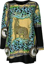 Femme libre taille haut devant et dos léopard imprimé fit for 12 14 16 manches longues