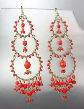 EXQUISITE Artisanal Coral Red Crystals Beads Gold Chandelier Dangle Earrings
