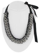 Necklace Stripe Black Grosgrain Ribbon Pleated Silver Tone Chain Link Fashion