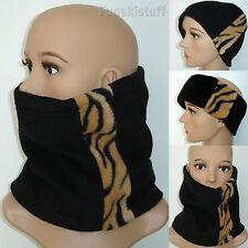 ladies girls womans Neckwarmer snood scarf BLACK / TIGER ANIMAL fleece neck ski