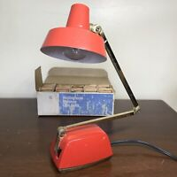 VTG MCM Red Tensor 8100 Metal Lamp Adjustable Arm + Box Of Bulbs PARTS or REPAIR