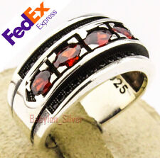 925 Sterling Silver Faceted Ruby Turkish Handmade Jewelry Men's Ring All Sizes