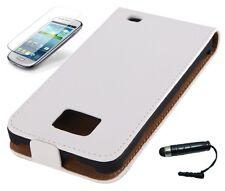 Custodia protettiva per Samsung Galaxy s2 i9100 + i9105 CUSTODIA ECOPELLE CASE Astuccio Bianco