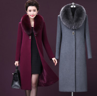 Winter Elegant Women Cashmere Wool Blend Trench Overcoat Fur Collar Long Coats