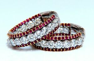 4.24ct natural red ruby diamond hoop earrings 14kt gold three row Intricate