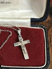 "925 Sterling Silver Cross Cruifix Pendant Chain Necklace 18"" 46cm (D3R)"