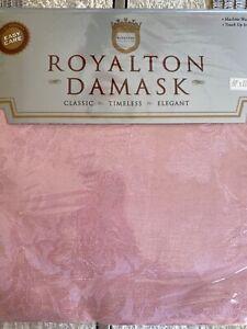 "PINK DAMASK OBLONG RECTANGULAR TABLECLOTH W/ 16 NAPKINS NEW 60"" x 118"" ORIG $125"