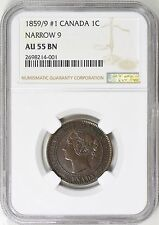 Canada 1859/9 #1 One Cent Narrow 9 NGC AU-55