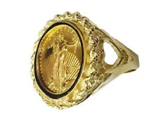 22K 1/10oz LADY LIBERTY COIN SET IN 14K SOLID YELLOW GOLD 22MM LADIES COIN RING