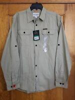 NWT Mens FIELD & STREAM Khaki Brushed Cotton Poplin Long Sleeve Shirt S $70