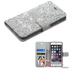 XM-For APPLE iPhone 6s Plus/6 Plus Crystal/Studs Silver Bling ID/Wallet PU Case