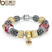 European Gold Plated Glass Bead Bracelet With Crystal  ,Free Gift Box/USA Seller