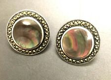 Tahitian Black Mother Of Pearl & Marcasite Earrings - Sterling 925