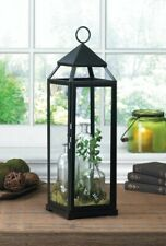 "4 Black Contemporary Candle Lanterns Extra Tall 25"" High"
