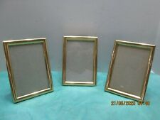 """Vintage Picture Frame 3 Matching Brass Frames for 3 x 5"""" Photo"""