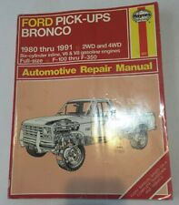 Haynes Ford Pickups Bronco 1980-1991 2wd 4wd V6 V8 F100 F350 Auto Repair Manual