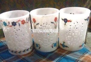 Lot of 3 Marble Glass Rare Mosaic Inlay Floral Art Pietradure Home Decor