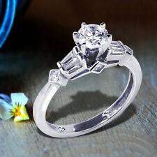 Baguette Round Diamond Wedding Ring Sterling Silver 925 Rhodium Plated