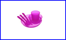 NEW 1set PURPLE Unbreakable Reusable Dinnerware Utensils Kids Adults- BPA Free