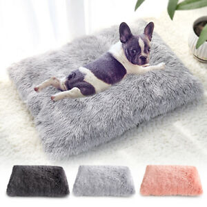 Pet Dog Bed Mat Soft Long Plush Cat Calming Bed Kennel Crate Cushion Mattress