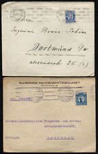 2 Norge Swerige Norway Sweden Old Covers 1916. Kristiania Stockholm To Dortmund