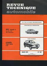 (33A) REVUE TECHNIQUE AUTOMOBILE CITROEN VISA SUPER / OPEL REKORD D