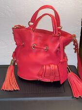 Lancel Premier Flirt Red Pebbled Leather Mini Bucket Bag Removable Strap VGUC