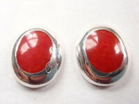 Red Coral Ovals 925 Sterling Silver Stud Earrings Corona Sun Jewelry