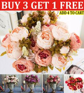 13 Heads Silk Peony Artificial Flowers Peony Wedding Bouquet Home Party Decor`UK